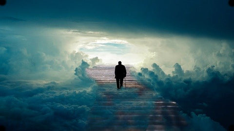 NHS community services support us at every step as a man walks the steps closer to heaven