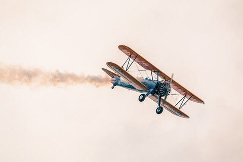 A bi-plane representing taking a look back in history to how the NHS has changed over the years.