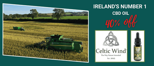Celtic Wind CBD Oil and CBD products are grown in Ireland and the photo shows the harvest with a combine harvester and tractor in green fields.