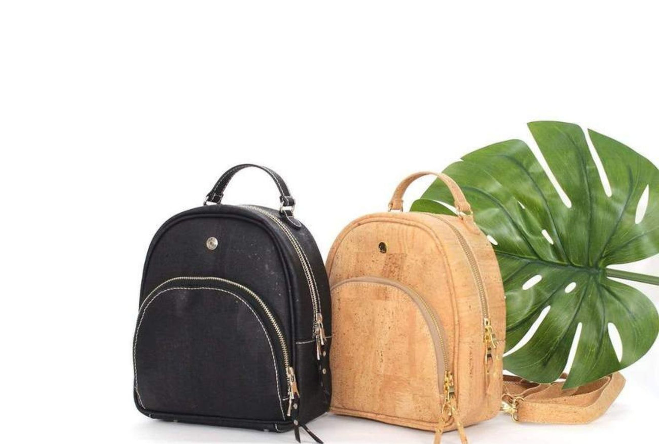 Vegan cork leather backpack bags. Made in Portugal from authentic Portuguese cork by skilled artisans. These are luxury and stylish. Not Just For Vegans is based in Dubai, United Arab Emirates and ships to GCC countries and internationally.