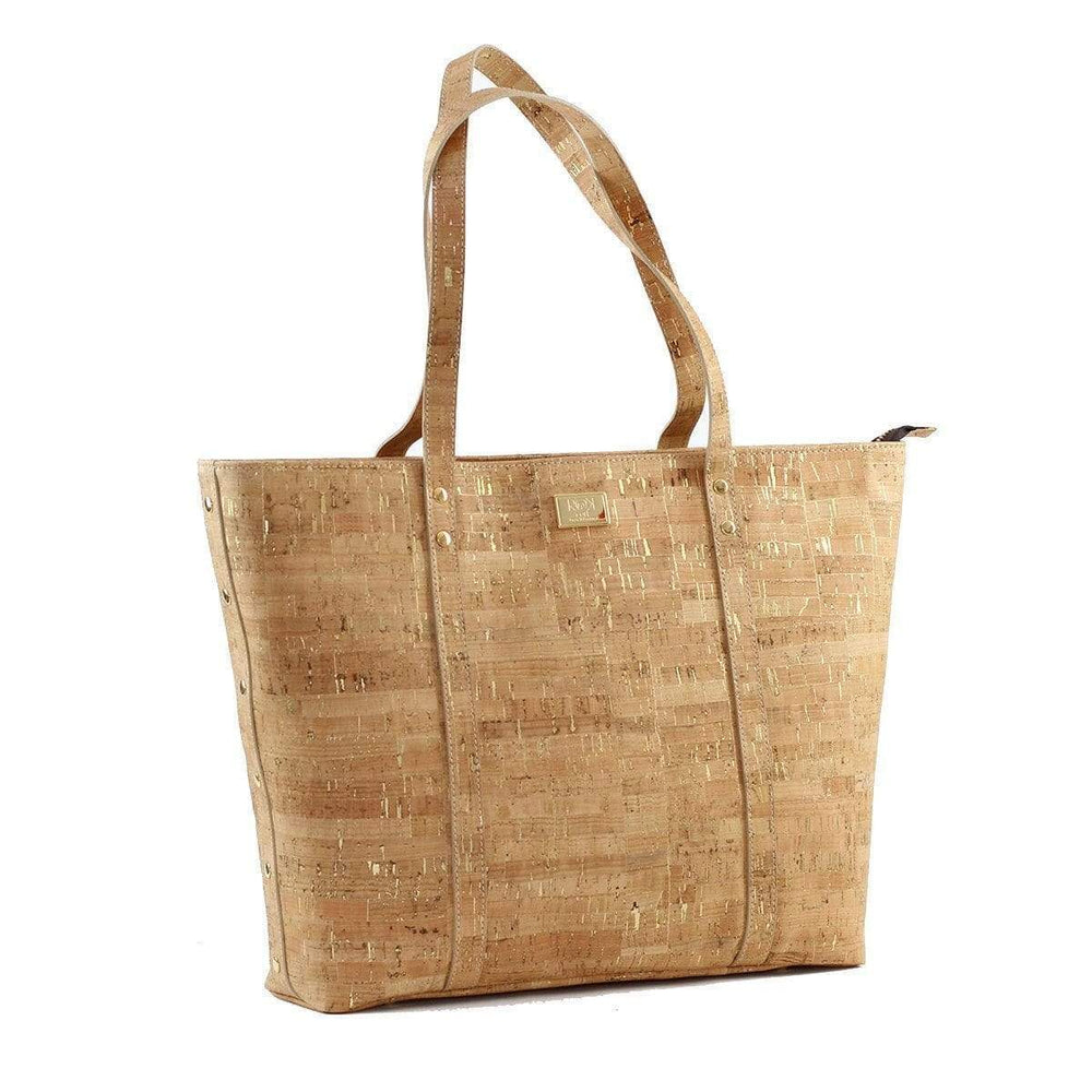 Not For Vegans Large Natural Gold Cork Tote Bag. This bag is made from cork leather and is vegan and cruelty free.