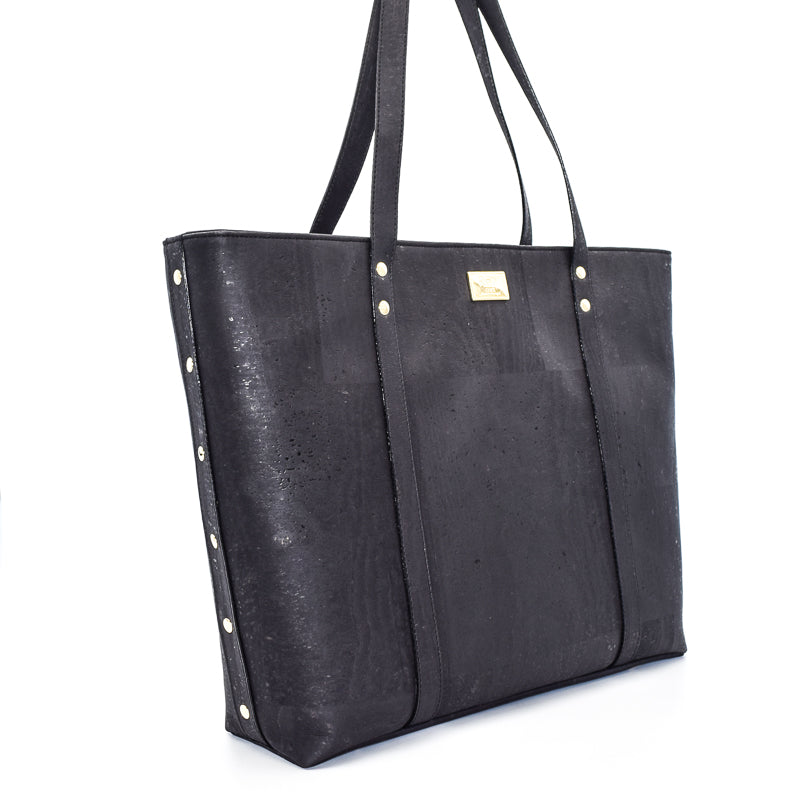 Not For Vegans Large Black Cork Tote Bag. This bag is made from cork leather and is vegan and cruelty free.