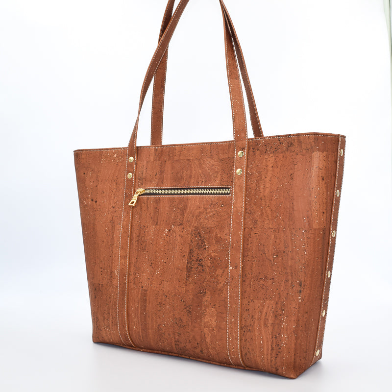 Not For Vegans Large Salted Caramel Cork Tote Bag. This bag is made from cork leather and is vegan and cruelty free.