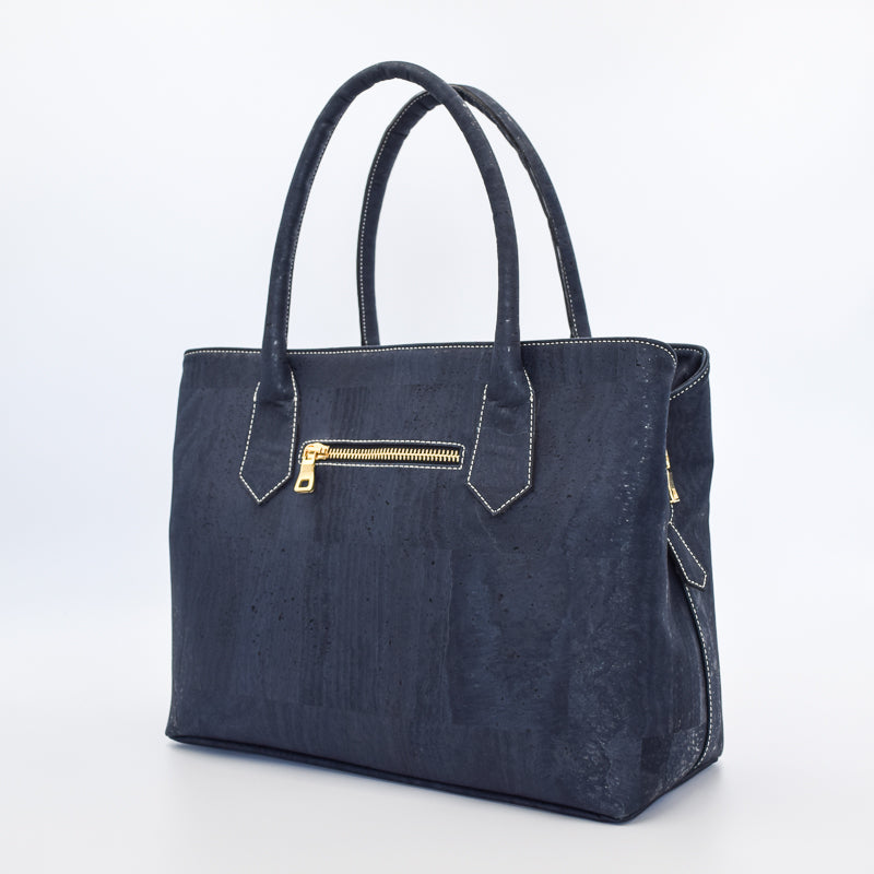 Eduarda vegan cork leather navy satchel bag in navy with gold hardware. Cruelty free and peta approved.