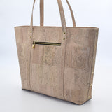 Not For Vegans Large Pearl White Cork Tote Bag. This bag is made from cork leather and is vegan and cruelty free.