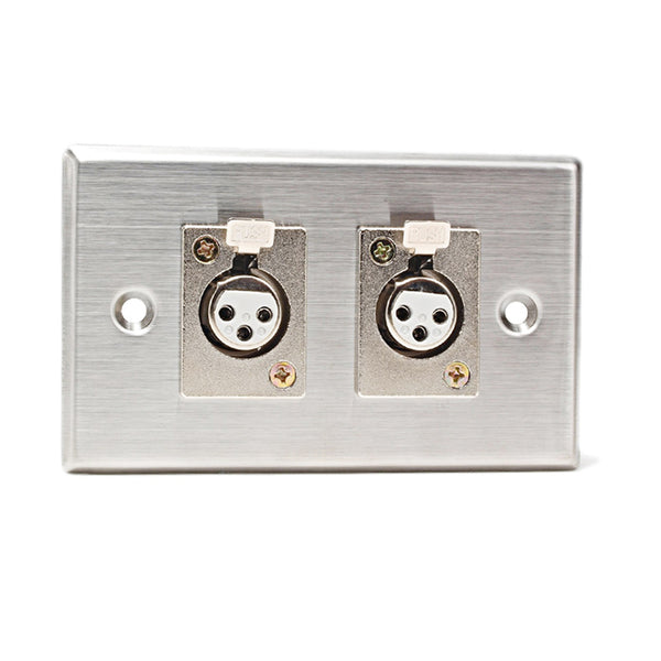 CAD Stainless Steel Wall Plate ~ 2 x XLR-F Connectors