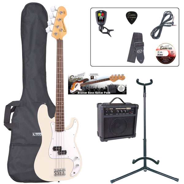 Encore E4 Bass Guitar Pack ~ Vintage White