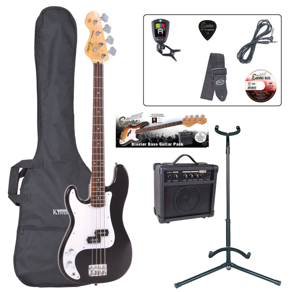 Encore E4 Bass Guitar Pack ~ Left Hand Black