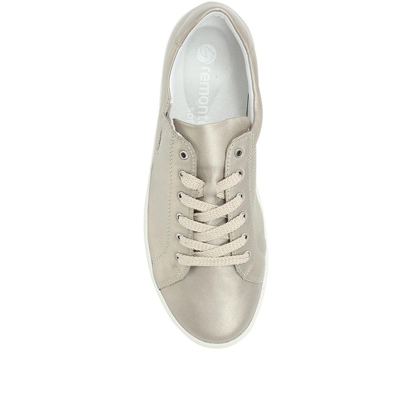 Lace-Up Metallic Leather Trainer - DRS31501 / 317 118