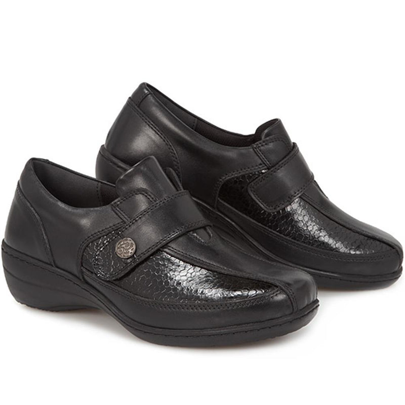 Extra Wide Ladies Leather Shoes - HAK28007 / 313 102