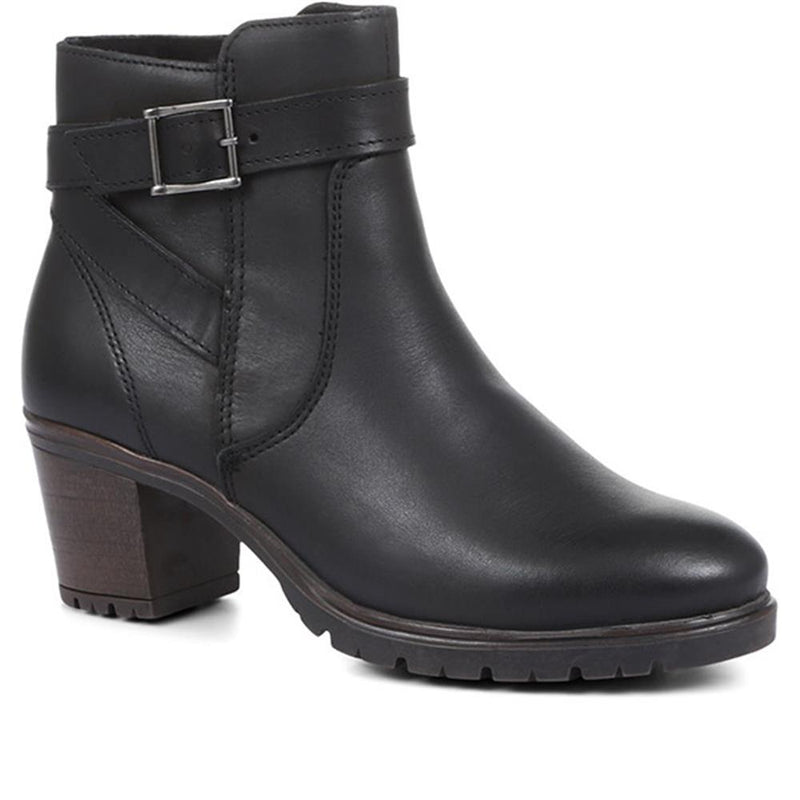 Stacked Heel Leather Ankle Boot - RDSOF32009 / 318 663