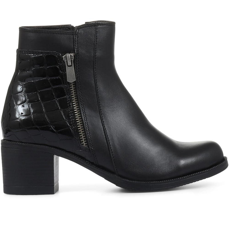 Leather Moc-Croc Ankle Boots - BELKARY32001 / 319 336