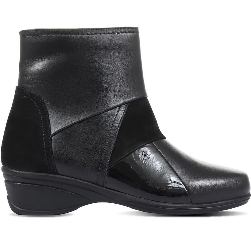 Wedge Leather Ankle Boots - KF32035 / 319 260