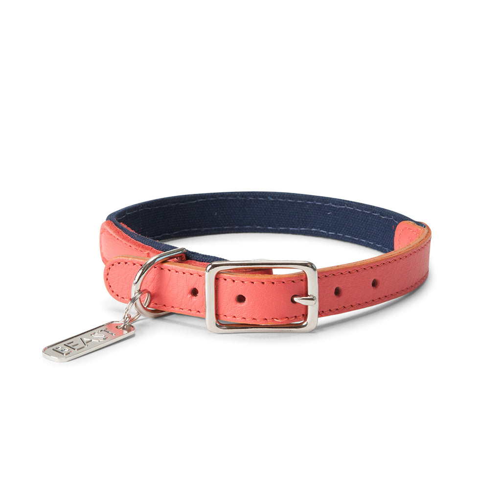 Leather Canvas Collar in Navy & Coral