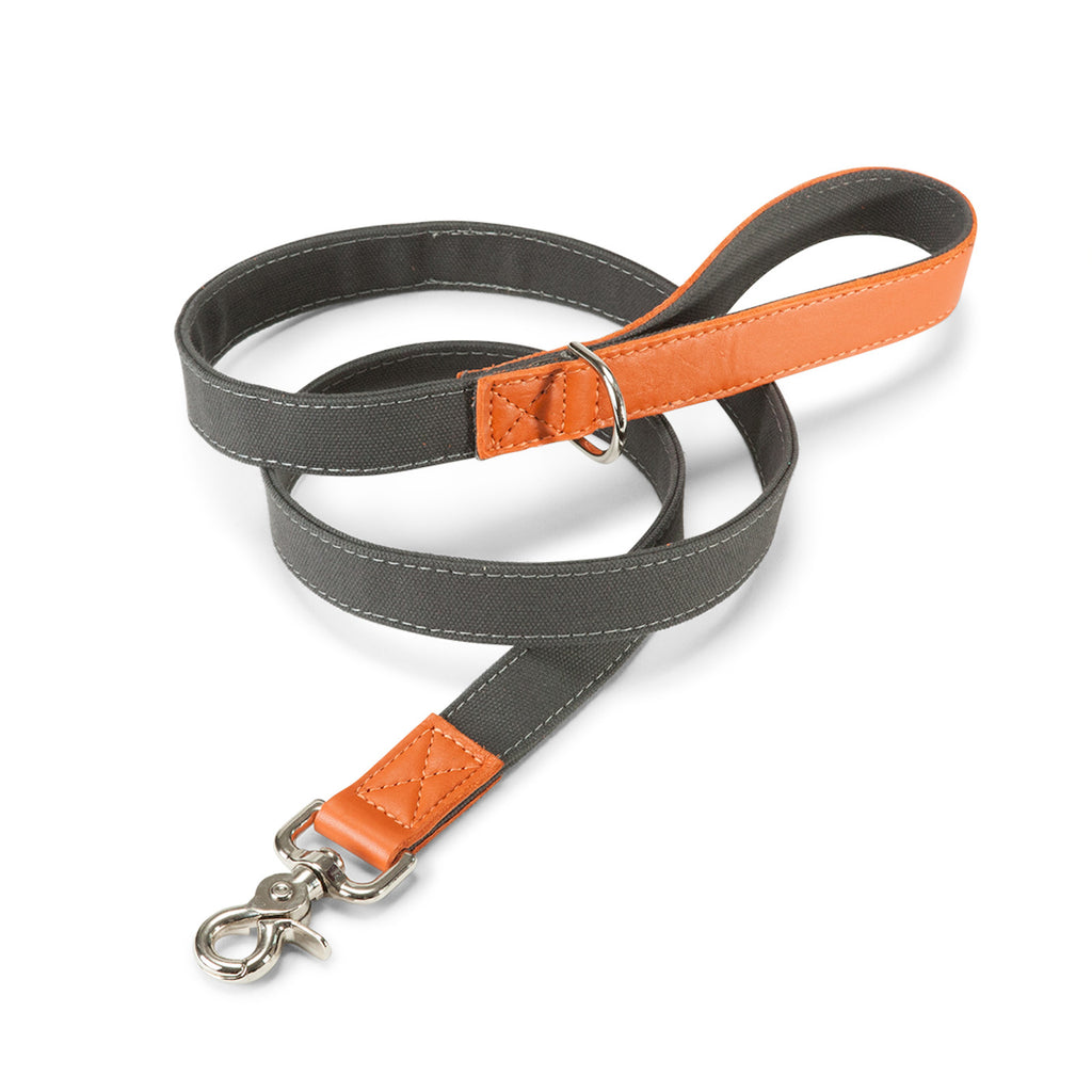 Leather Canvas Lead in Grey & Orange