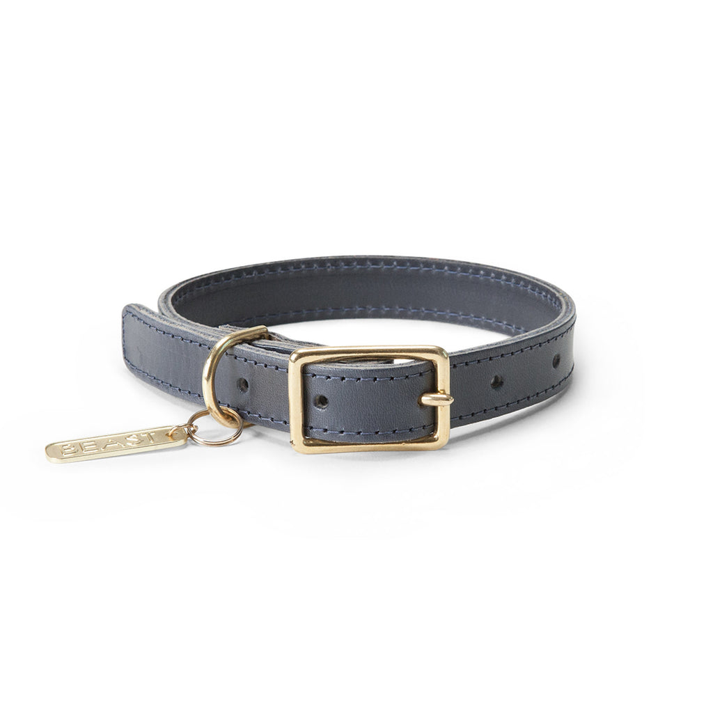 Leather Collar in Navy