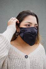 Load image into Gallery viewer, Mini Bandana Face Mask in Black Sateen