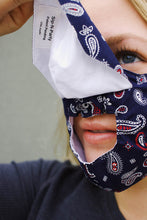 Load image into Gallery viewer, Cone Apron Face Mask in Bandana Navy