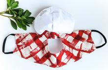 Load image into Gallery viewer, Cone Apron Face Mask in Red Check Barkcloth
