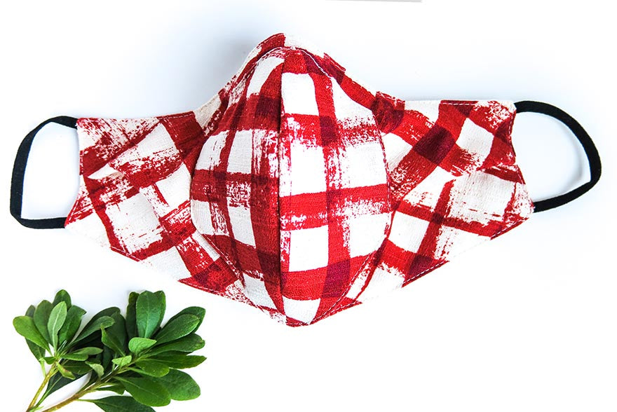 Cone Apron Face Mask in Red Check Barkcloth