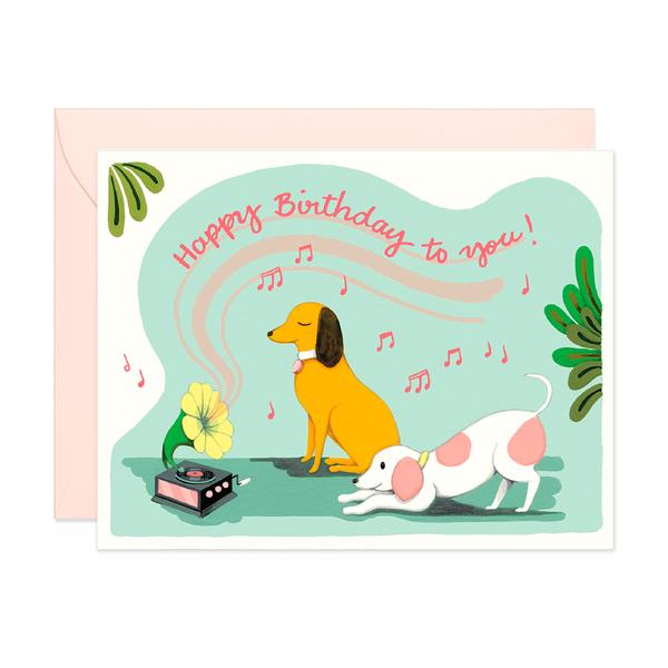 Gramophones Dog Birthday Card
