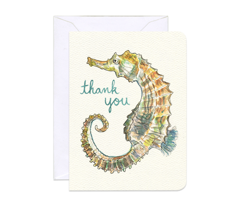 Seahorse Thank You Mini Card - Front & Company: Gift Store