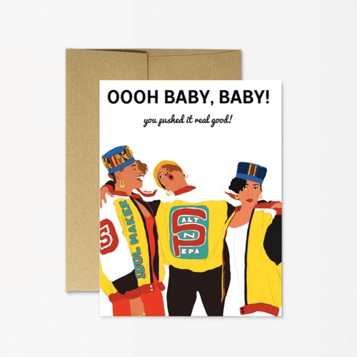 Salt N Pepa Push It New Baby Greeting Card - Front & Company: Gift Store