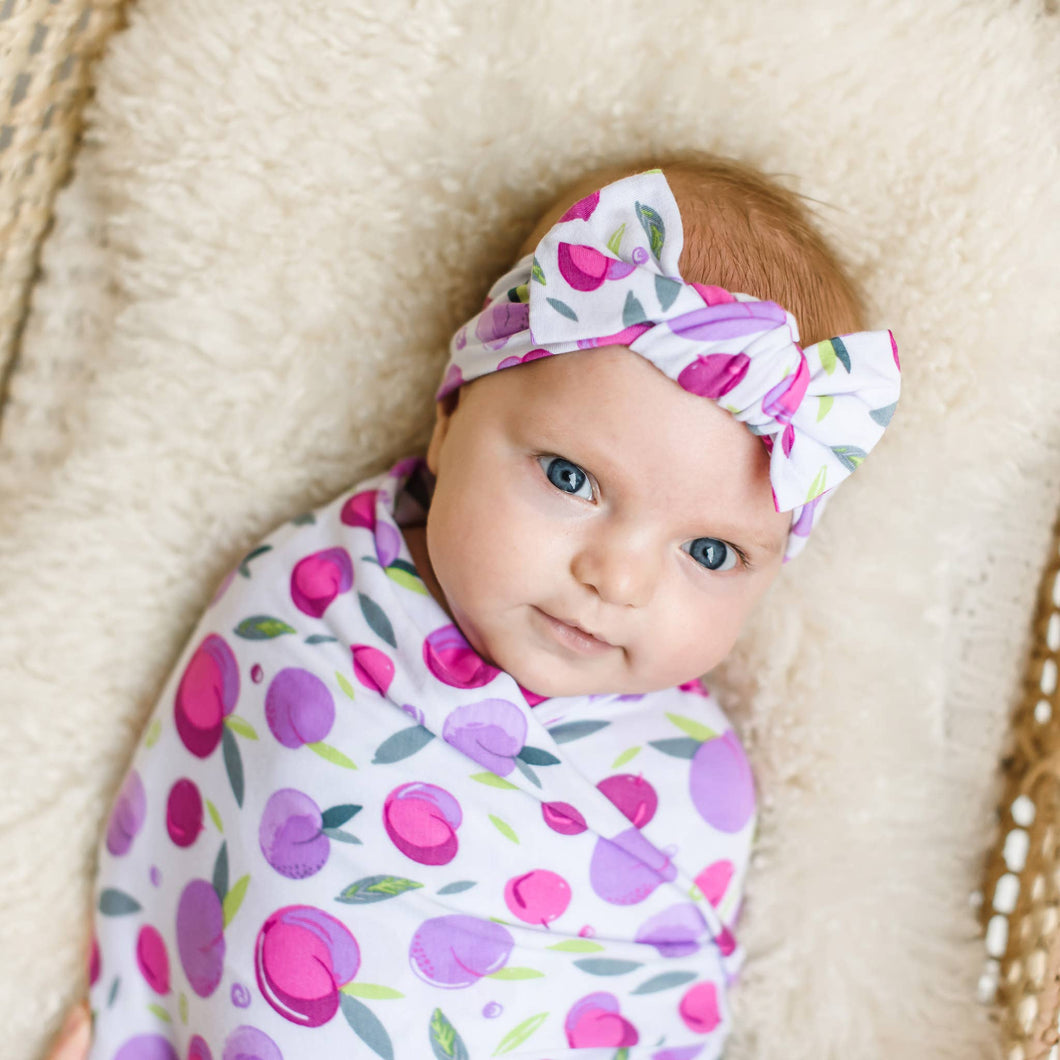 Plums Bamboo Swaddle & Headband Gift Set