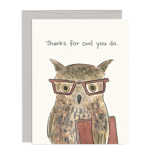 Owl Thanks Card - Front & Company: Gift Store