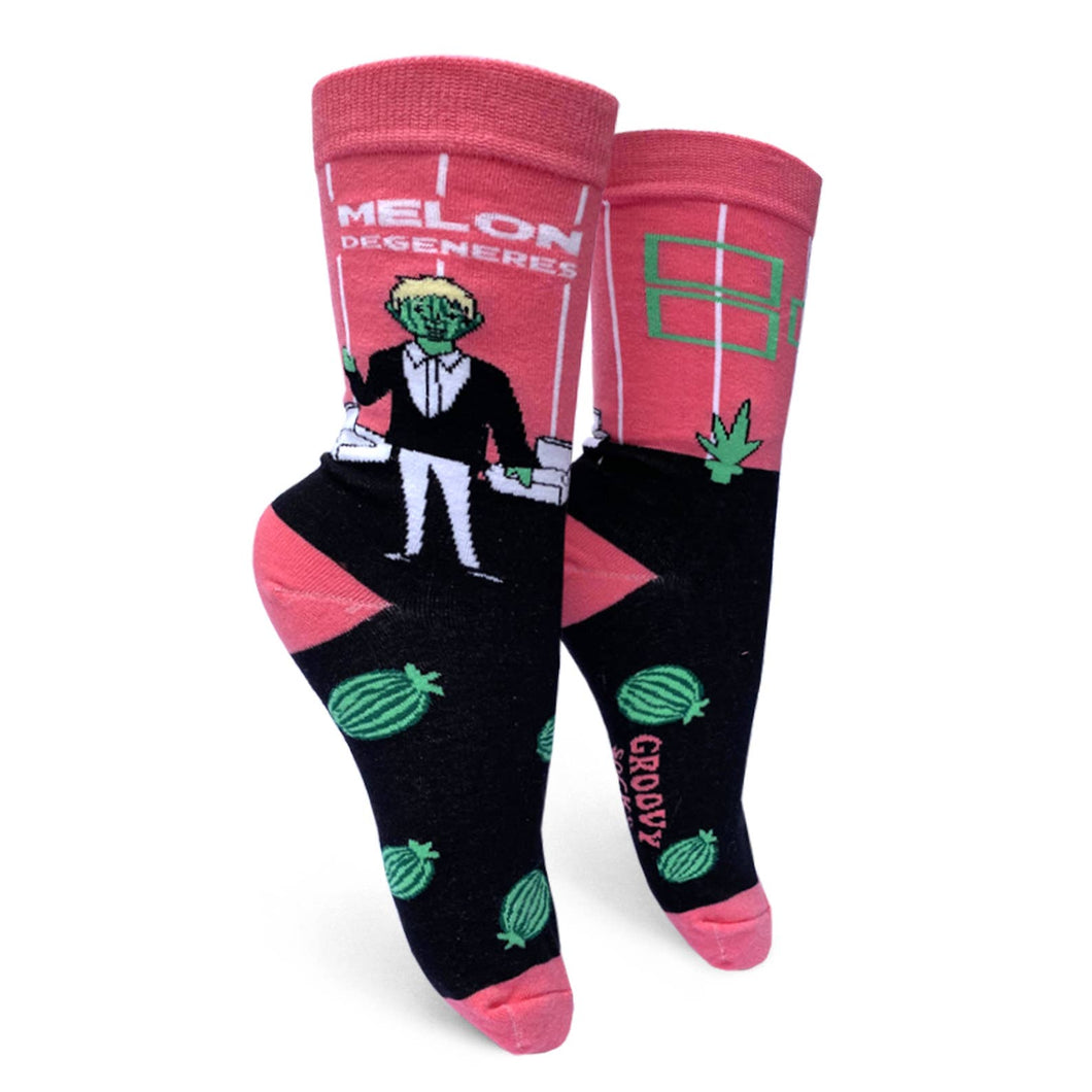 Melon Degeneres Womens Crew Socks