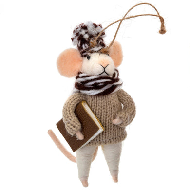 Studious Stuart Mouse Ornament - Front & Company: Gift Store