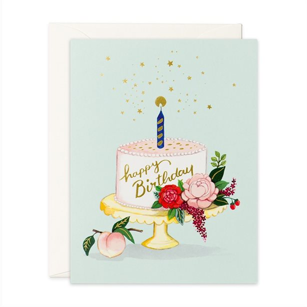Peach Cake Birthday Card