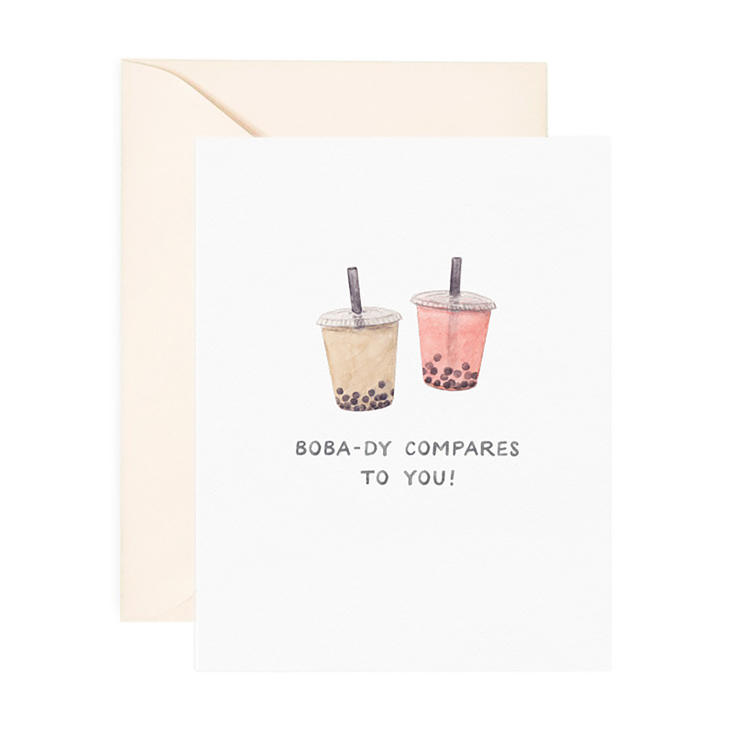 Boba-dy Compares Love Greeting Card