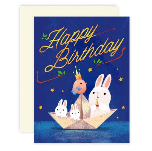 Bunnies Paper Boat Birthday Card - Front & Company: Gift Store