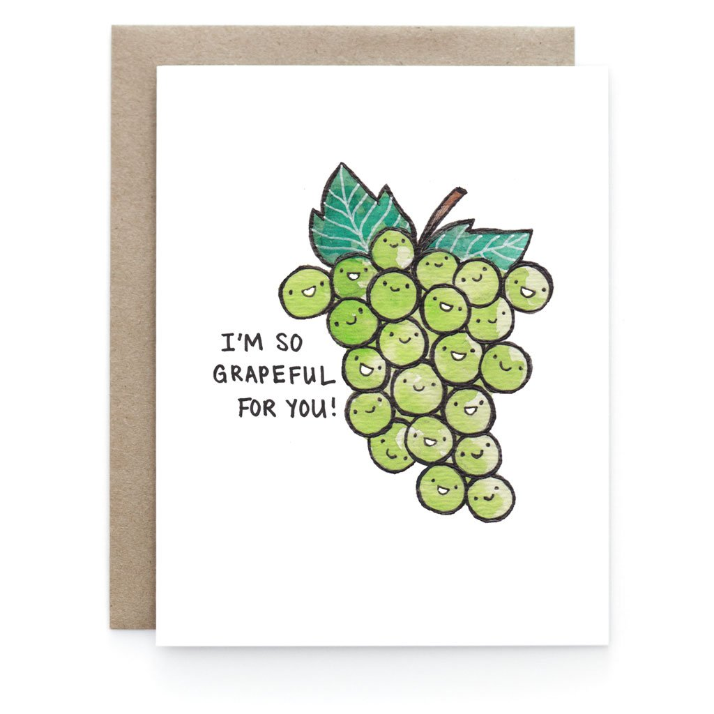 Grapeful Thank You Greeting Card - Front and Company: Gifts
