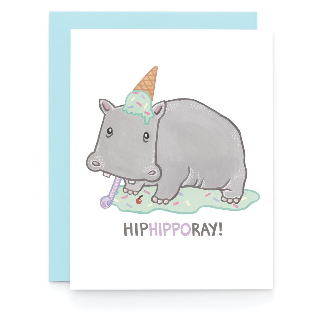Hip Hippo Ray! Greeting Card - Front and Company: Gifts