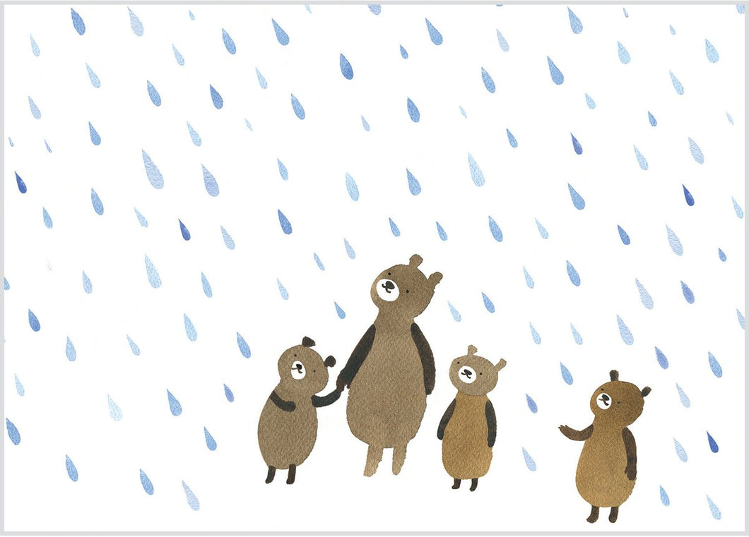 Bears in the Rain Birthday Card