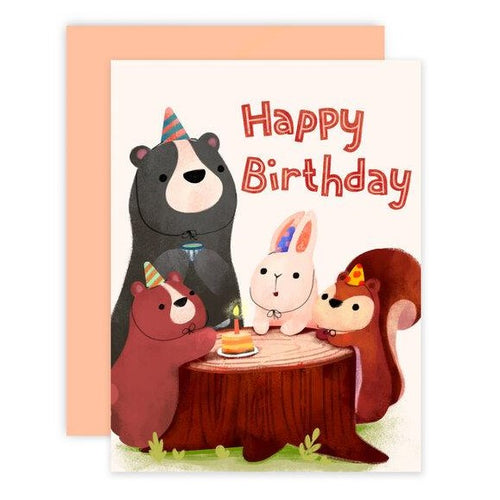 Forest Animals Party Birthday Card - Front & Company: Gift Store