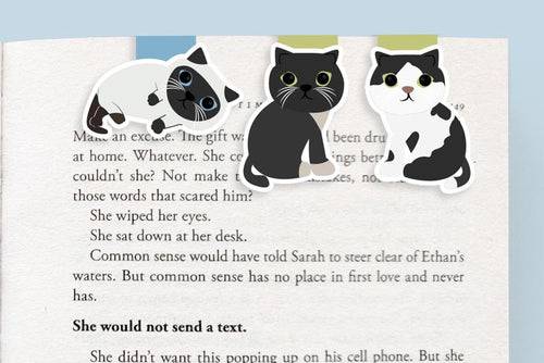 Black and White Cats Magnetic Bookmarks (Mini 3 Pack) - Front & Company: Gift Store