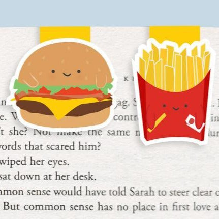 Burger And Fries Mini Magnetic Bookmarks (Mini 2 pack) - Front & Company: Gift Store