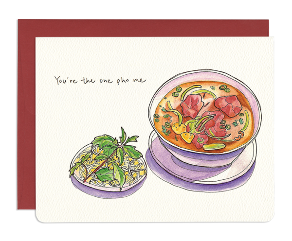 One Pho Me Love Greeting Card - Front and Company: Gifts