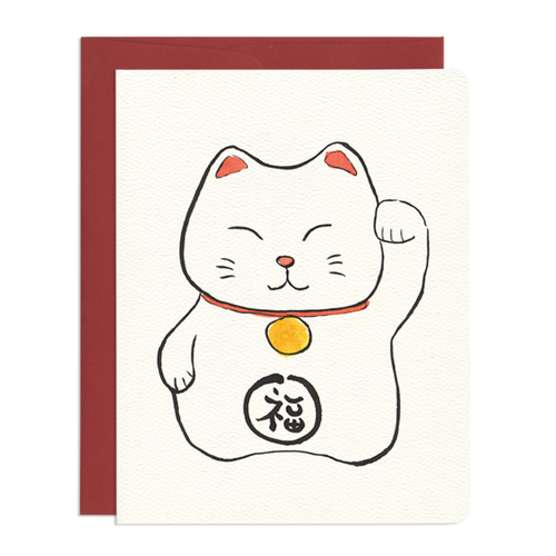 Maneki Good Luck Greeting Card - Front & Company: Gift Store