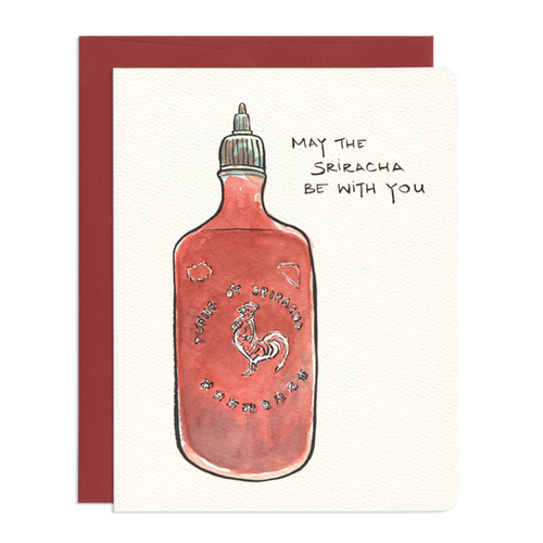 Force of Sriracha Encouragement Greeting Card - Front & Company: Gift Store