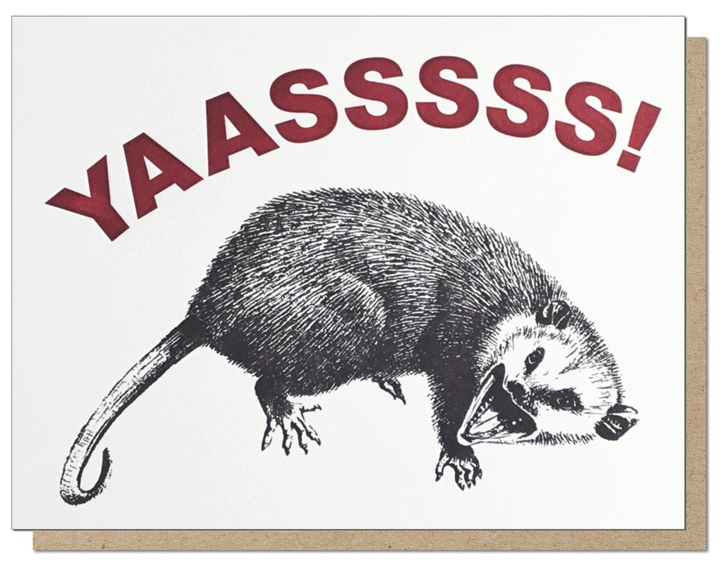 Yas Possum Greeting Card - Front and Company: Gifts