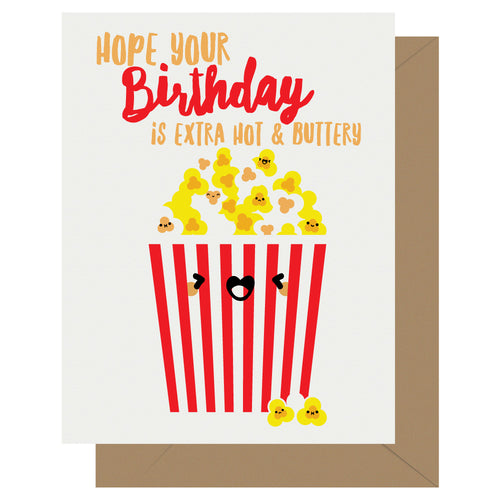 Hot & Buttery Popcorn Birthday Card - Front & Company: Gift Store