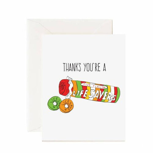 Thanks You're A Lifesaver Card - Front & Company: Gift Store