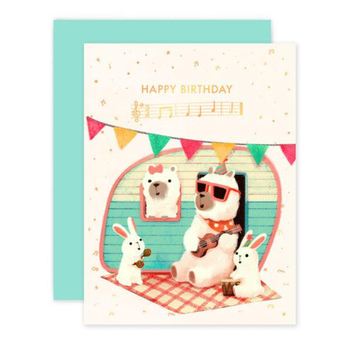 Rose Gold Foil Alpaca With Ukulele Birthday Card - Front & Company: Gift Store