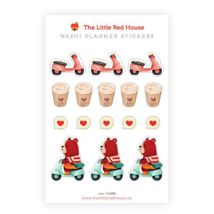 Scooter Bear Washi Planner Stickers