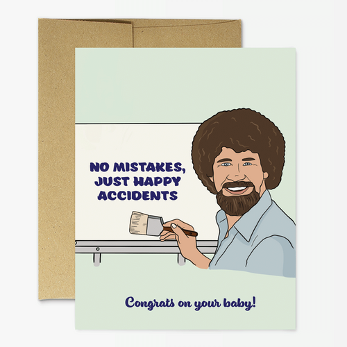 Bob Ross Baby Greeting Card - Front & Company: Gift Store