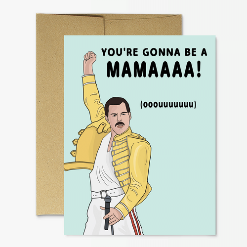 Freddie Mercury New Mama Greeting Card - Front & Company: Gift Store
